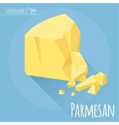 Flat design Parmesan cheese icon vector