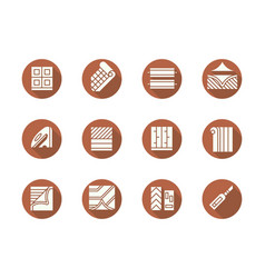 Flooring service round flat color icons set vector