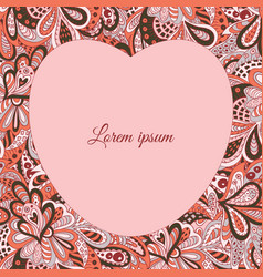 Floral doodle etnic pattern heart frame pastel vector