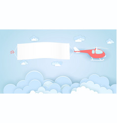 flying helicopter with empty advertising banner vector image