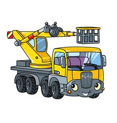 Funny telescopic boom lift car or truck vector