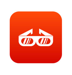 glasses for 3d movie icon digital red vector image