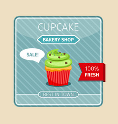 Green cupcake with chocolate hearts card vector
