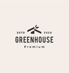 Green house leaf hipster vintage logo icon vector