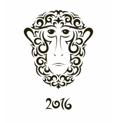 greeting card with monkey - symbol new year vector image