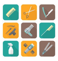 Hairdresser tools color flat style icons set vector