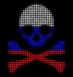 Halftone russian death skull icon vector