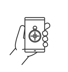 Hand holding smartphone linear icon vector
