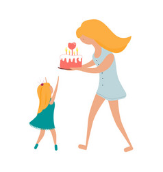 happy birthday with mom and daughter vector image