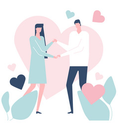 happy couple - flat design style colorful vector image