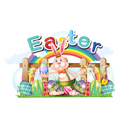 happy easter card with bunny and eggs vector image