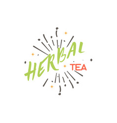Herbal tea collection badge design sticker vector