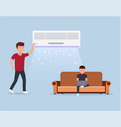 home air conditioning room with cooling man on vector image