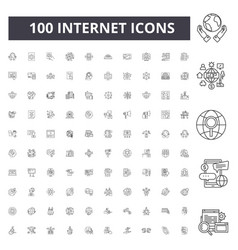 internet line icons signs set outline vector image
