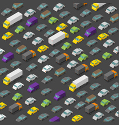 isometric high traffic jam a lot cars vector image