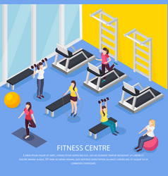 isometric women fitness background vector image
