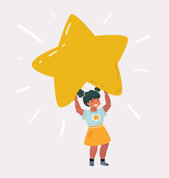 Kid girl doodle smiling and holding yellow star vector