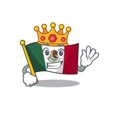 King mexico flag fluttering on cartoon pole vector
