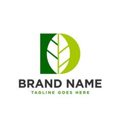 Leaf inspiration logo with letter d vector