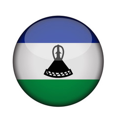 Lesotho flag in glossy round button of icon vector
