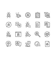 Line quality assurance icons vector