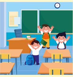 Little students boys in the classroom vector