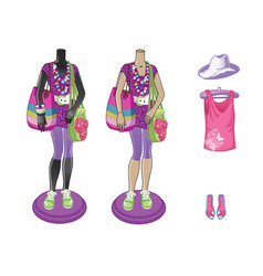 Mannequins with bright multicolored wear fashion vector