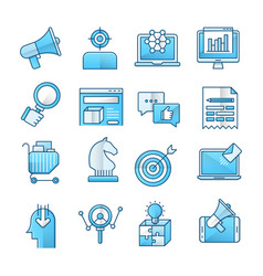 Marketing blue icons set vector