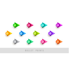 Numbered colorful bullet points vector