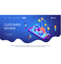 online gift review isometric 3d landing page vector image