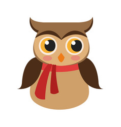 owl with scarf icon vector image