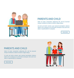 parents and son sitting in front of open laptop vector image