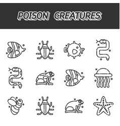 poisonous creatures cartoon concept icons vector image