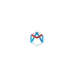 polygon initial company logo vector image