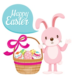 Rabbit And Colourful Easter Eggs In Gift Basket vector image