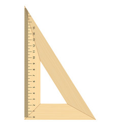 Realistic wooden triangular ruler isolated vector