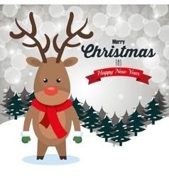 reindeer cartoon greeting merry christmas design vector image