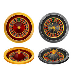 Roulette wheel spin mockup set realistic style vector