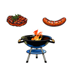 round bbq charcoal grill beef steak and sausage vector image