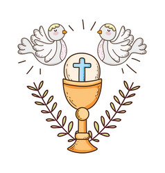 Sacred chalice religious with doves birds vector
