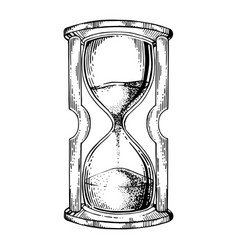 sand watch glass engraving vector image