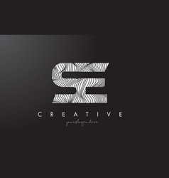 Se s e letter logo with zebra lines texture vector
