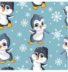 Seamless pattern with cute baby penguins vector
