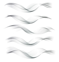 Set abstract color wave smoke lines vector image