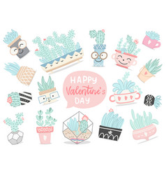 set hand drawn cactuses and succulents vector image