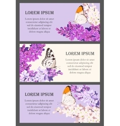Set of cards with lilac vector