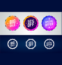 set of color gradient badges for sale promotions vector image