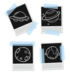 Set photo frame with astronomy outline vector