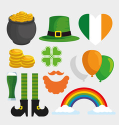 set st patrick decoration to holiday celebration vector image