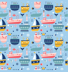 Ship pattern flat background design vector
